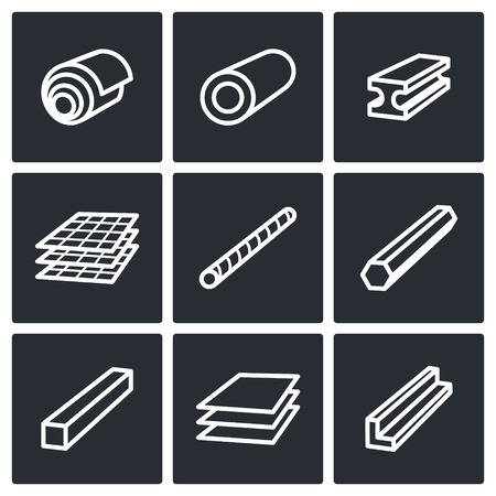 steel factory: Metal industry icon collection on a black background Illustration