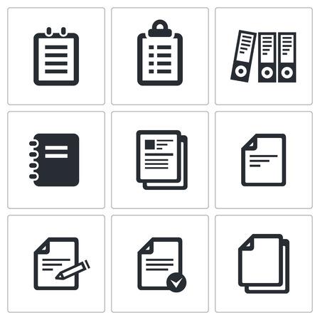 pencil paper: Documentos icono de la colecci�n sobre un fondo negro Vectores