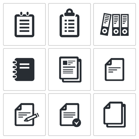Documents icon collection on a black background