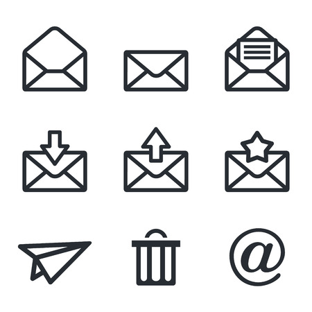 e mail: web icon collection on a white background