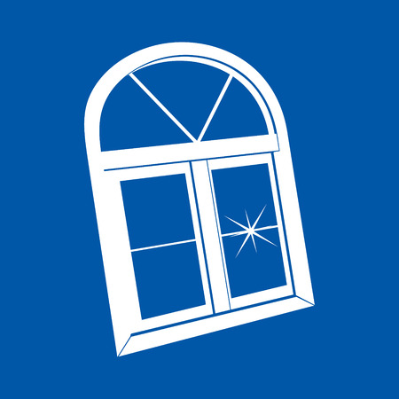 white window: Perfil de la ventana blanca aislado en un fondo azul