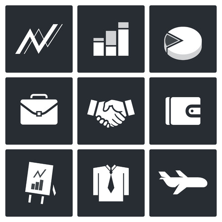 Business icon collection on a black background Vector