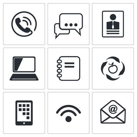 adress book: Communication icon set on a white background