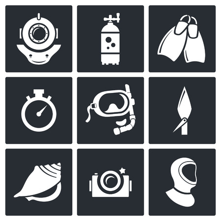 deep sea fishing: Diving icon collection on a black background Illustration