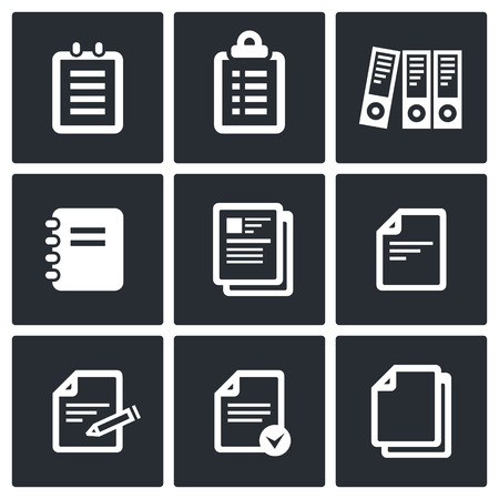 stack of documents: Documents icon collection on a black background