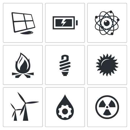 hydro electric: Energy icons set on a white background