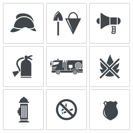 firefighting: Fire Service icon collection on a white background