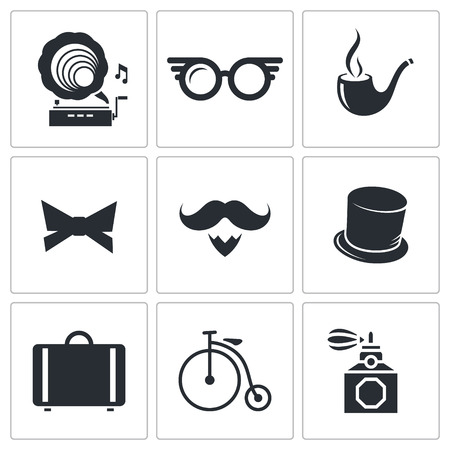 Hipster icon collection on a white background Illustration