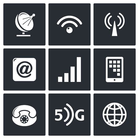 tehnology: Communication and connection icon collection on a black background Illustration