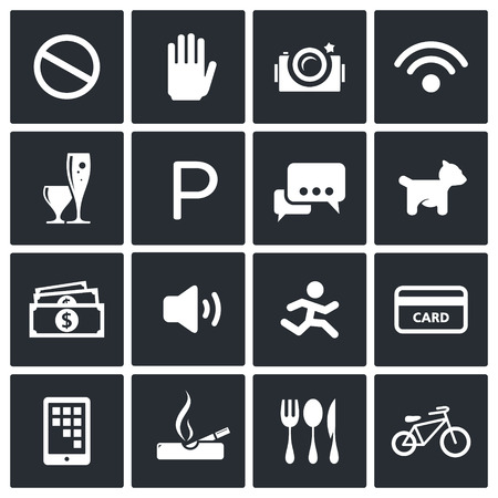 Prohibition icon collection on a black background Vector