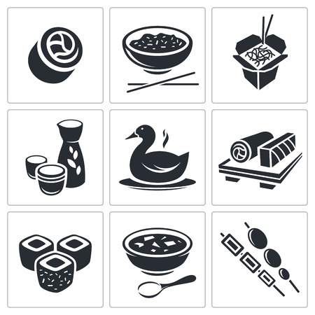 Sushi icon collection on a white background Vector