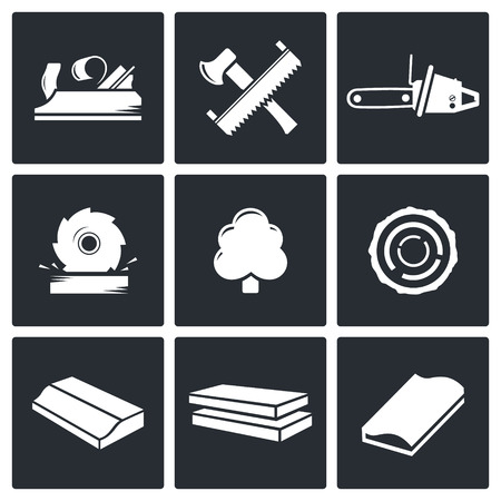 Woodworking icon collection on a black background Illustration