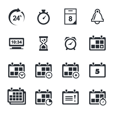 calendar icon: Time icon collection on a white background