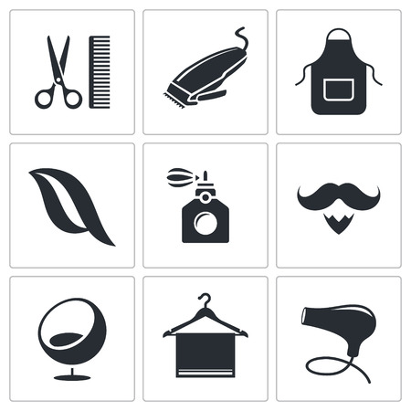 Hair salon icon collection on a white background