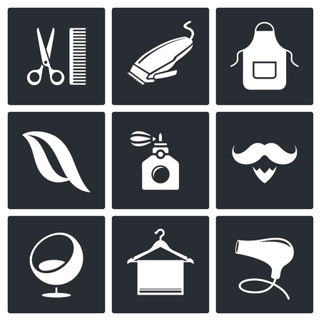 hair dryer: Hair salon icon set on a black background