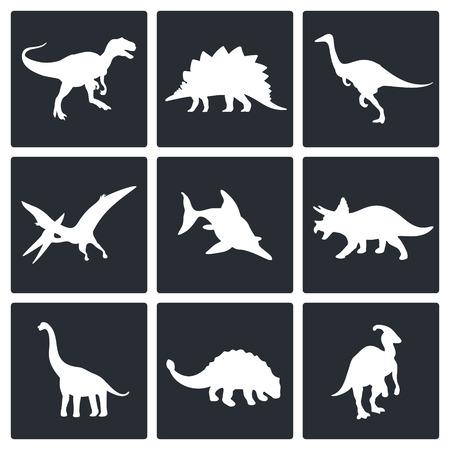 deinonychus: Dinosaurs icon set on a white background