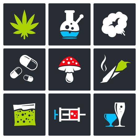 Drugs icon set on a black background