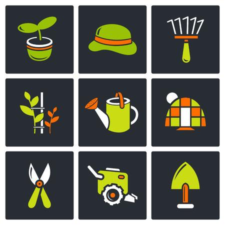 secateurs: Garden icon set on a black background