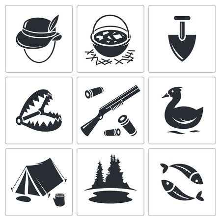 ammo: Color hunting and fishing icon set on a white background