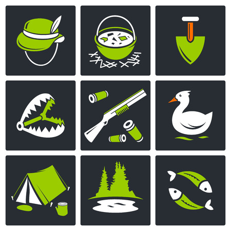 Color hunting and fishing icon set on a black background Stock Vector - 29935272
