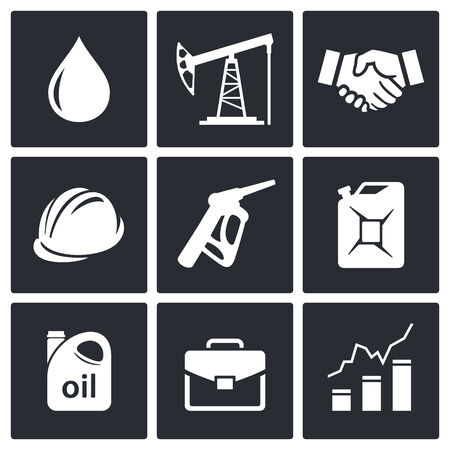crude oil: Petroleum industry icon set on a black background