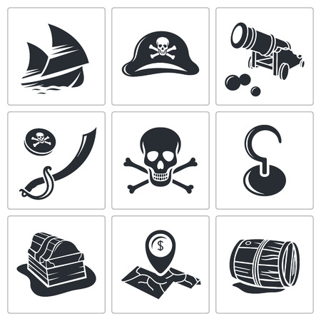 barrel bomb: Pirates icon set on a white background Illustration