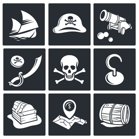 barrel bomb: Pirates icon set on a black background