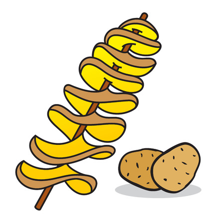 Technology Fast Food chips in a continuous spiral on a wooden stick Ilustracja