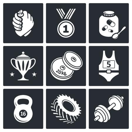 wrestling: Wrestling icon set on a black background
