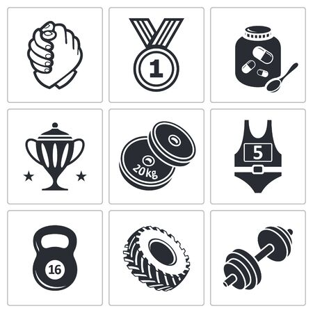 Wrestling icon set on a white background Vector