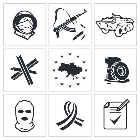 Opposition icon set on a white background