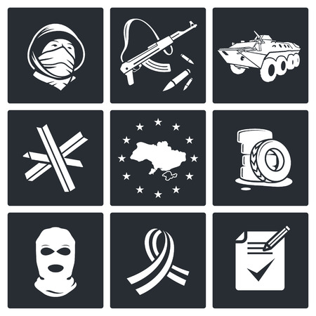 opposition: Opposition icon set on a black background Illustration