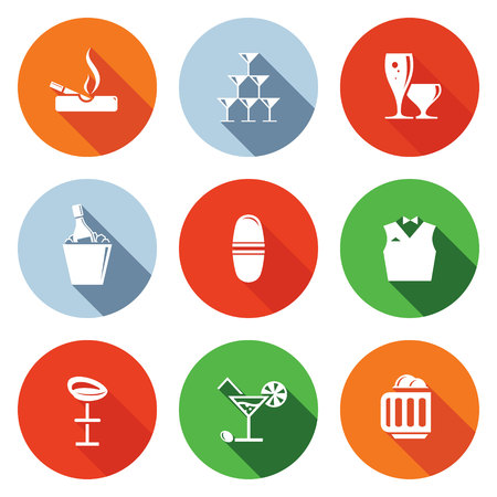 Bar icon collection on a colored background Vector
