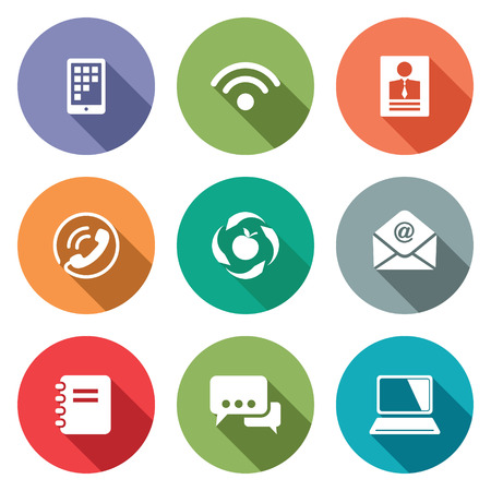 adress book: Communication icon collection on a colored background