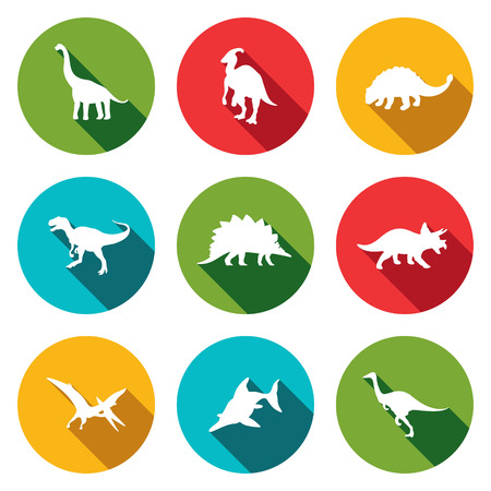 Dinosaurs icon set on a colored background Vector