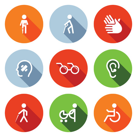 Disability icon collection on a colored background