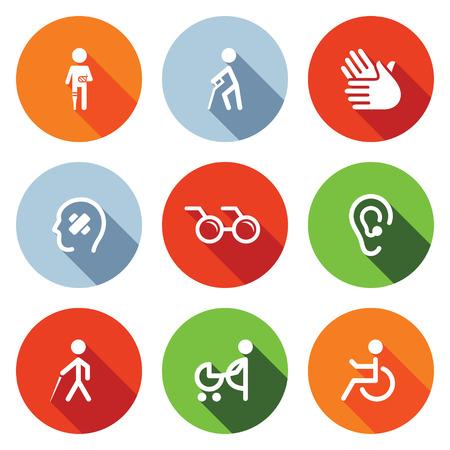 Handicap icon collectie op een gekleurde achtergrond