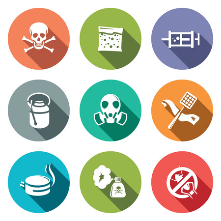 exterminator: No insects icon set on a colored background