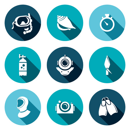Diving icon collection on a colored background Vector