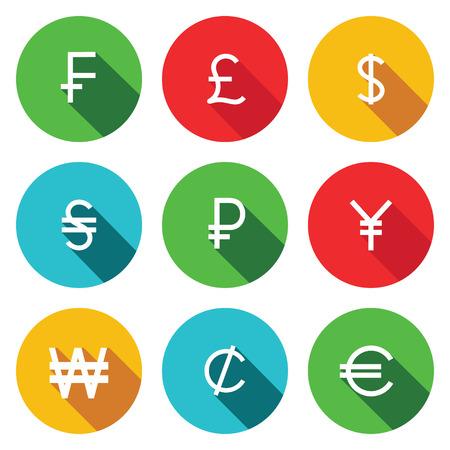 signo de pesos: Colección de símbolos de finanzas en un fondo coloreado