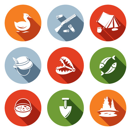 Color hunting and fishing icon set on a colored background