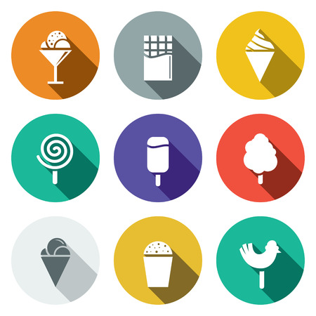 candy floss: Sweets and ice cream icon collection on a colored background