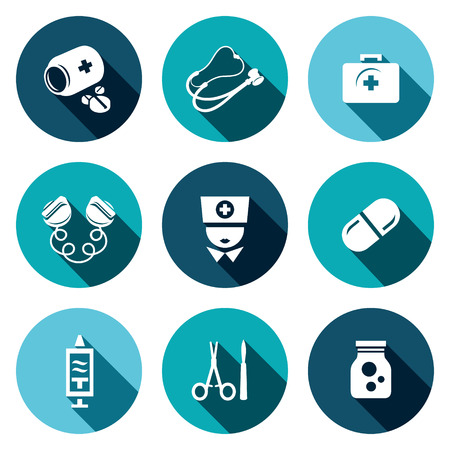 electroshock: Medicine icon collection on a colored background Illustration