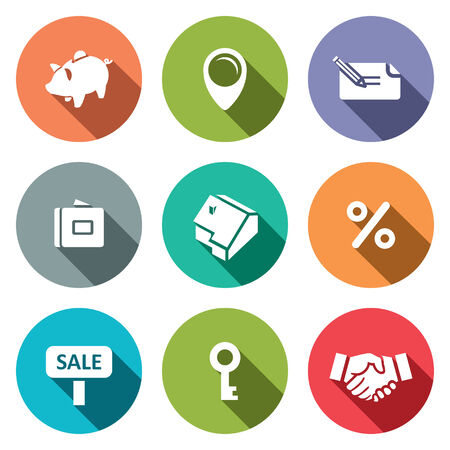 valuation: Real Estate Deal icon set on a colored background Illustration