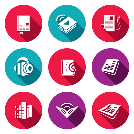 audio book: Audio book icon collection on a colored background Illustration