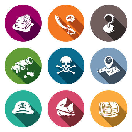 barrel bomb: Pirates icon set on a colored background Illustration