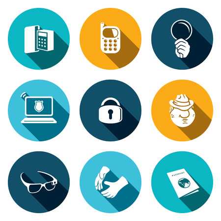 Spying vector icon collection on a colored background