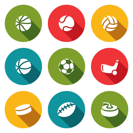 cons: Collection of sports symbols on a colored background
