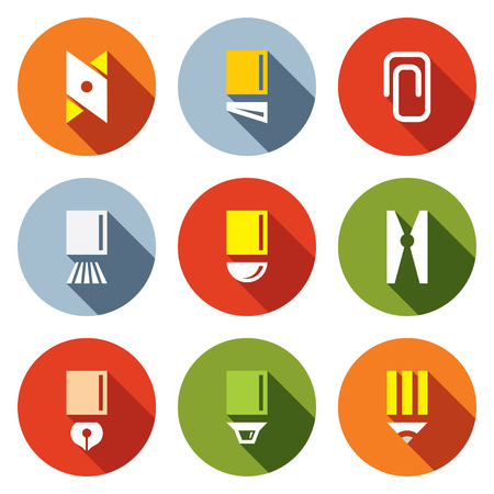 Stationery items icon collection on a colored background Vector