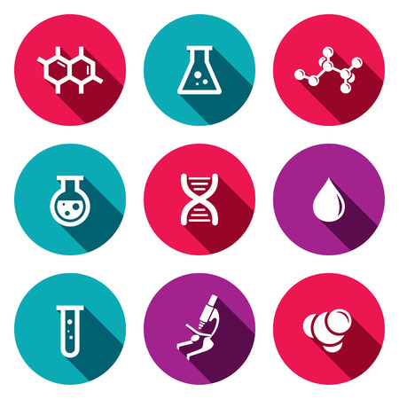 Chemistry icon collection on a colored background
